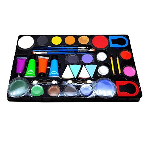 Lasamot Kit de pintura facial y corporal para adultos y nios, sin grasa, 16 colores, disfraz de festival, fiesta de cumpleaos, pintura facial, juego de maquillaje