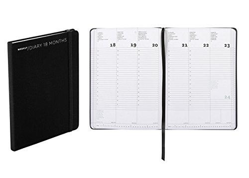 Agenda settimanale 18 mesi, formato medium, cm 15 X 21 colore nero