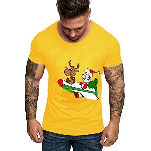 EUZeo Herren Weihnachten gedruckt Kurzarm Hässlich T-Shirts Casual Slim Fit Rundausschnitt Komisch Weihnachtenhemden Basic Streetwear Sweatshirts Tees Tops