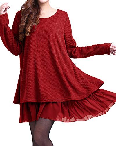 ZANZEA Jersey Mujer Jumper Suéter Larga Tops Vestidos de Encaje para Vestido Lazo Elegant Fiesta de Noche Suéter de Punto para Mujeres Otoño Invierno Tallas Grandes Rojo-399848 5XL