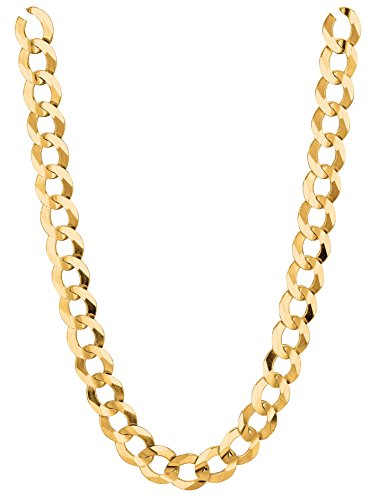 RCI 14K Solid Yellow Gold Comfort Concave Cuban Curb Link Chain Necklace 7 Mm (22 Inches)