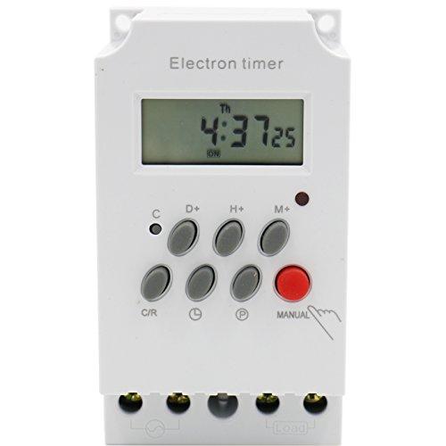 Heschen Digital LCD de alimentación semanal programable electron temporizador interruptor 220-240 VAC 25 Amp 4 terminales de tornillo