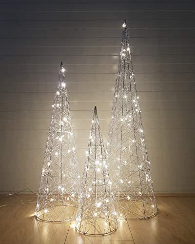 3-Teilig Led Dekorative Weihnachtsbeleuchtung Silber-Kegel Advent Pyramide Kegel
