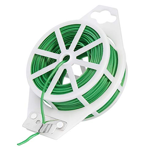 VIVOSUN 164 Feet Twist Tie Roll Spool Dispenser w/Cutter Secure Garden Plant Multi-Function Cable Snack Tie