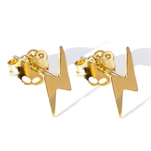 Ah! Jewellery Women's Celebrity Style 8mm lightning Bolt Stud Earrings. 24K Gold Over Sterling Silver. Perfect For a Striking Gift! Stamped 925.