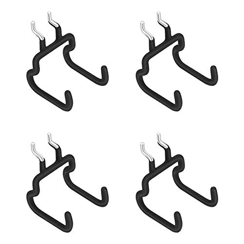 ZZTT Metal Hook Rack for Kitchen Living Room 4 Pieces Pegboard Drill Holder, Pegboard Hooks Pegboard Organization Accessory Flat Double Utility Hook