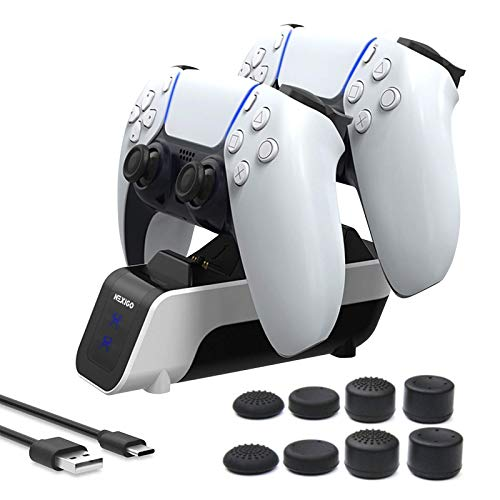 NexiGo Newest PS5 Controller Charger, Fast Dual Charging Station for PS5 Controller with 8 Analog Sticks Covers, Safe and Fast Charging for Sony PS5 Controller, White