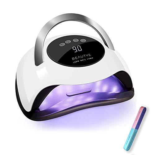 BEAUTYE Lámpara de horno UV LED 120 W profesional para uñas Manicura/Pedicura, 4 temporizadores 10/30/60/99s, pantalla LCD (lima proporcionada)