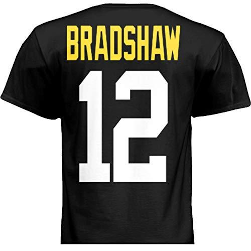 HOFSM.COM Hall of Fame Sports Memorabilia NWT New Bradshaw #12 Pittsburgh Black Custom Football T-Shirt Jersey No Logos Men's (Medium)
