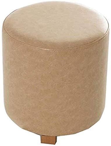 Taburete bajo para silla, pequeño taburete, banco pequeño, de cuero, banco de madera maciza, cambiador de zapatos (color: marrón), color: café leche. verde
