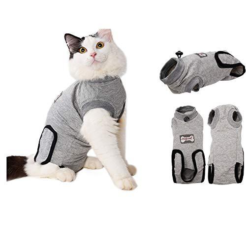 RC GearPro Cat Recovery-Anzug für Bauchwunden oder Hautkrankheiten, Atmungsaktives E-Collar Alternative Cotton Cat Shirt nach chirurgischen Wunden (M, Grey)