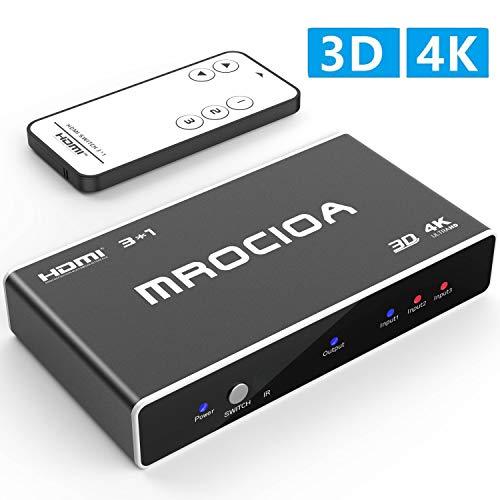 HDMI Switch 4k HDMI Splitter-Mrocioa Aluminum HDMI Switch 3 in 1 Out, HDMI splitter with IR Wireless Remote, Supports 4k@30HZ 3D HD1080P for PS4/ Xbox One/Fire TV/Apple TV/Sky Box/STB/DVD/Laptop/Roku.