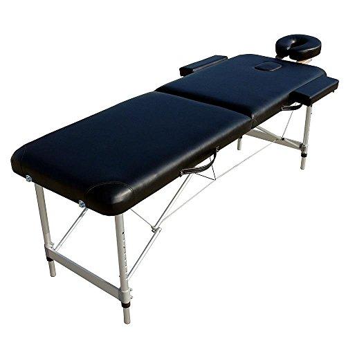 Melko Massageliege Profi 2 Zonen aus Aluminium, klappbar und höhenverstellbar, Schwarz - inkl. Schutzhülle