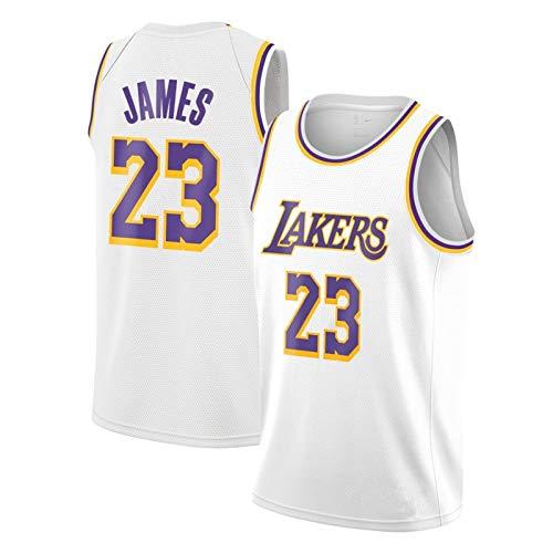 Camiseta de Malla, cómodo, Ligero, Transpirable, Equipo de Baloncesto NBA Jersey Lakers # 23 Jersey Verano Sin Mangas Baloncesto NBA Jersey (Color : White, Size : XL-Large)