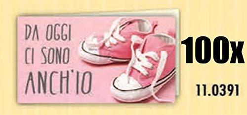 100 PZ Bigliettini bigliettino bomboniera rosa NASCITA bambina DA OGGI CI SONO ANCH IO con scarpette
