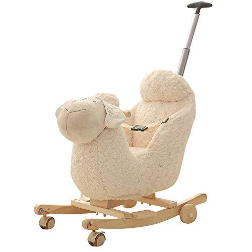 BAIDEFENG Baby Rocking Horse, Child Wooden Plush Rocking Horse Chair Rocker/Sheep Animal Ride on with Wheels/Music/Seat Belt