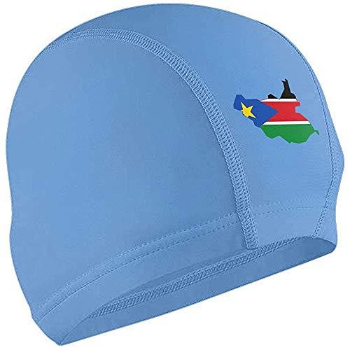 H.D. Gorro De Baño Bandera De Sudán del Sur Impermeable Antideslizante Gorro De Baño De Pelo Corto Y Largo para Unisex