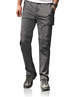 Men's Casual Cargo Pant Hiking Convertible Stretch Lightweight Quick Dry Waterproof Breathable UPF Grey 32
