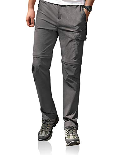 Men's Outdoor Pants Stretch Lightweight Quick Dry Waterproof Breathable UPF Hiking Convertible Trousers Grey 34