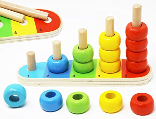 Wooden Stacking Rings Baby and Counting Game -Color Sorting Rings - 5 Pegs Ring Stacker - Counting Rings Early Learning Wooden Toys for 1 Year Old