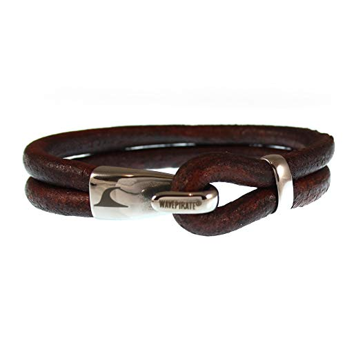 WAVEPIRATE® Echt Leder-Armband Peak R Braun 23 cm Edelstahl-Verschluss in Geschenk-Box Surfer Herren Männer