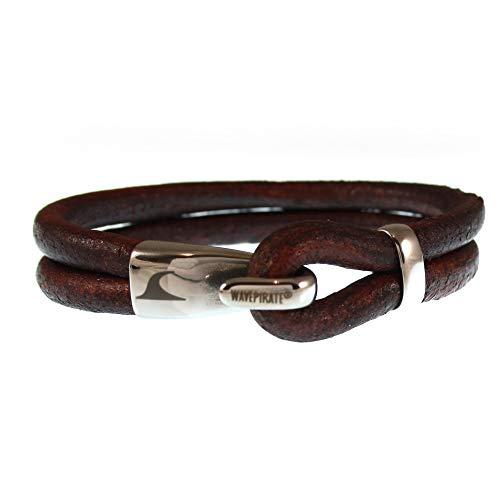 WAVEPIRATE® Echt Leder-Armband Peak R Braun 22 cm Edelstahl-Verschluss in Geschenk-Box Surfer Herren Männer