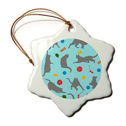 Mesllings Gatos atrapa ratones juego de caricatura abstracto Ornamento especial personalizado niños Navidad único decoración de día festivo adornos de regalo personalizado copo de nieve porcelana Ornamento