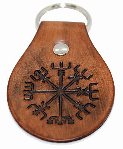Leather Norse Viking Compass Vegvisir Keychain