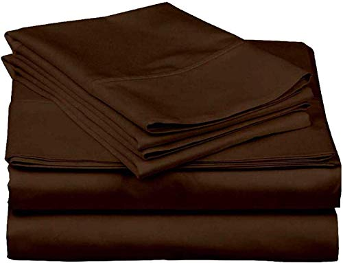 6 PC Sheet Set Bamboo Sheets Deep Pockets 45 CM, 100% Organic Cotton Eco Friendly Wrinkle Free Sheets Machine Washable Hotel Bedding Silky Soft, Chocolate Solid, Single Size
