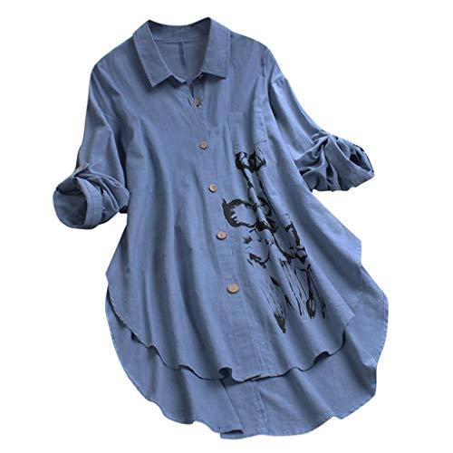 KUDICO Damen Button Down Bluse Asymmetrisch Oberteile Shirt Große Größen Blumendruck Freizeit V-Ausschnitt Langarm Lose Tunika Tops(Blau,EU 42/CN 2XL)