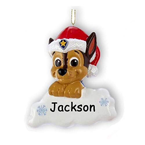 Personalized Paw Patrol Chase The Police Dog Christmas Ornament - Rescue Pup in Santa Claus Cap with Custom Name