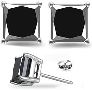 1/2-4 Carat Total Weight Princess Black Diamond Stud Earrings