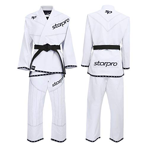 Starpro BJJ Passt Zu Brasilianischem Gi - Grappling Jiu-Jitsu Uniform Kimonos Professionelles Training Kampfkunst | Vorgeschrumpfter Schwarz Weiß Baumwollst Männer & Frauen (A0 A1 A2 A3 A4 A5)