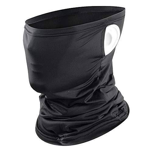 Ice Silk Gesichtsmaske UV-Schutz Bandanas Atmungsaktive Halsmanschette Schal Kopfbedeckung Sturmhaube zum Angeln Wandersport (Black)