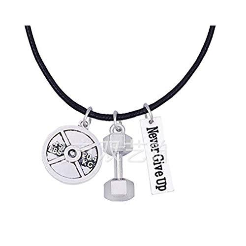 Handmade accessories Never Give Up Halskette Hantel Leder Halskette Barbell Halskette Gewichtsscheibe Halskette Gewichtsverlust Geschenk