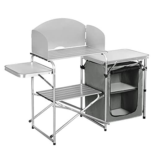 WOLTU Cocina de Camping Armario de Camping Mesa Plegable Mesa de Acampada Aluminio con Bolsa de Almacenamiento Armario de Acampada CPT8140wgr