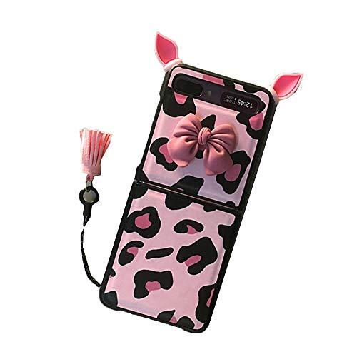 STKJ Compatible con El Estuche Samsung Galaxy Z Flip, Patrón De Vaca Leopardo, Lindo Teléfono con Orejas De Cerdo con Cuernos,Rosado