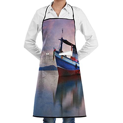 LOSNINA Delantal de cocina impermeable para hombres delantal de chef para mujeres restaurante de BBQ,Barco de pesca tailandés utilizado como vehículo para encontrar peces en el mar. Al atardecer
