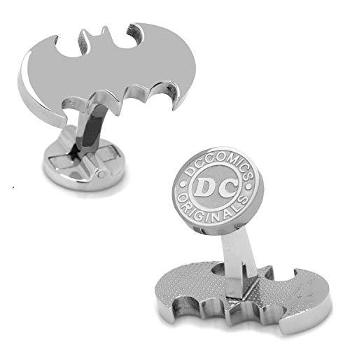 DC Comics - Gemelos de Batman para boda de superhéroe de plata + caja de regalo