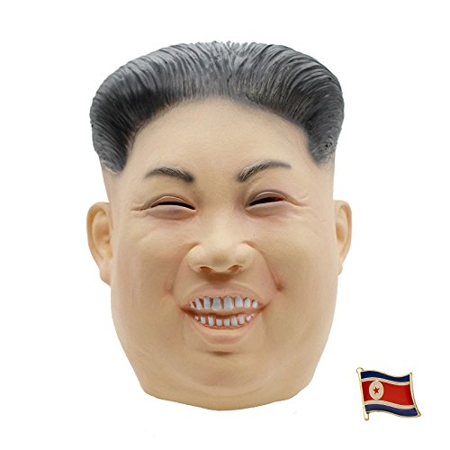 [1 x Fat Kim Jong Un Latex-Maske + 1 x Anstecknadel Nordkorea Flagge] – Rocketman Halloween Party Kostüm Diktator