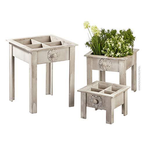 Cepewa 3er Set Pflanztisch Vintage grau Garten Terasse Gartenarbeit Pflanzen