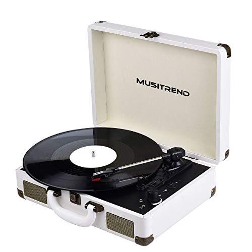 Platine Vinyle Bluetooth Tourne-Disque à 3-Vitesses Valise Portable avec 2 Haut Parleurs IntéGréS Aux Entrée Sortie RCA