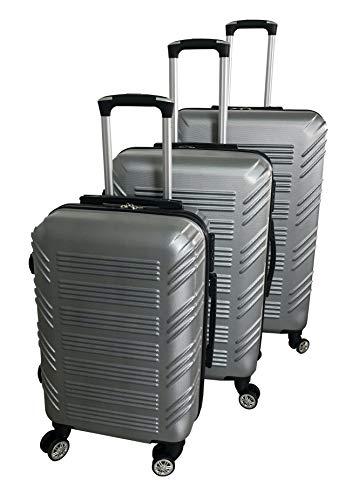 Beibye - Juego de maletas rígidas con ruedas (cierre integrado, M-L-XL) Plateado plata medium