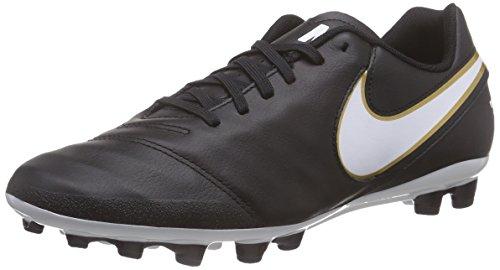 Nike Tiempo Genio II Leather AG-R, Botas de fútbol Hombre, Negro/Blanco/Dorado (Black/White-Metallic Gold), 40.5 EU