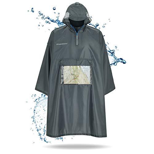 STANDWERK® Regenponcho grau/Unisex – der Lange Regenschutz mit Ärmel, Reißverschluss und Brusttasche