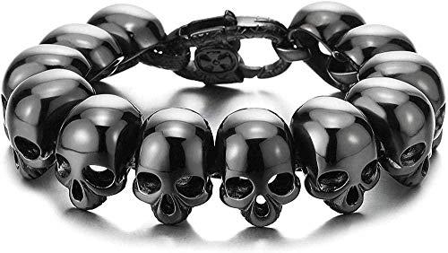 YOUZYHG co.,ltd Pulsera de Calavera de Acero Inoxidable Negro para Hombre Pulsera de Motociclista de Estilo gótico de Plata Brillante Grande