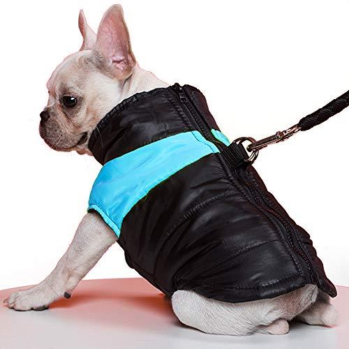 TFENG Hundemantel Hundejacke für Hunde, Warm gepolstert Puffer Weste Welpen Regenmantel mit Fleece (Blau, L)
