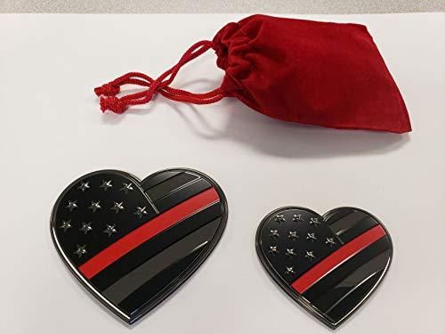 Thin Red Line Heart Car Emblem