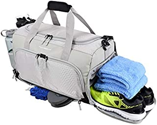 Ultimate Gym Bag 2.0: The Durable Crowdsource Designed Duffel Bag with 10 Optimal Compartments Including Water Resistant Pouch (Grey, Medium (20