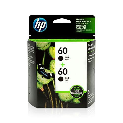 HP 60 | 2 Ink Cartridges | Black | Works with HP DeskJet D2500 Series, F2430, F4200 Series, F4400 Series, HP ENVY 100, 110, 111, 114, 120, HP Photosmart C4600 Series, C4700 Series, D110a | CC640WN